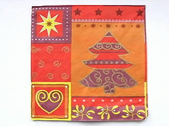 Pajoma Servietten Weihnachtsbaum mit Herz, orange-gelb